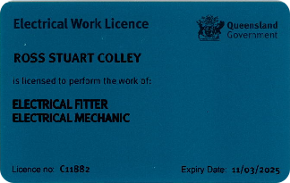 QLD Electrical Work Licence - Ross